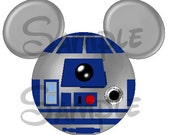 R2D2 (Star Wars) Character inspired Mouse head ears DIGITAL printable file DIY