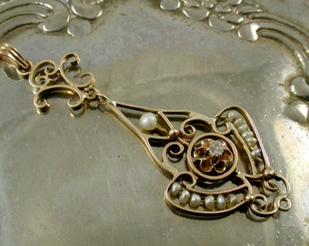 Antique Natural Pearl and Diamond Pendant in Yellow Gold.  Seed Pearl Lavaliere