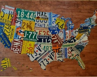 Large United States License Plate Map