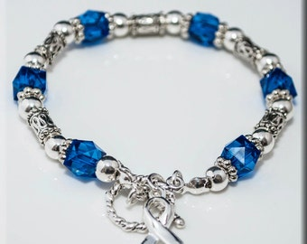 SALE! Colon Cancer Beaded Stretch Bracelet with Silver-Plated Awareness Ribbon Dark Blue Ribbon, Cancer Survivor Jewelry