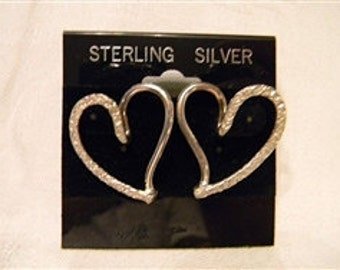 Open Heart Very Fashion Fun 925 Sterling Silver Textured Post Earrings weight 6.2 grams length 1.25 inches #890