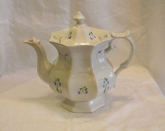 "Rare Old Staffordshire England Soft Paste 1810-1820 Sprig Pattern Coffee Pot 9"" Tall"