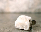 Rough Quartz Ring, White Crystal Gemstone Chunky Jewelry, Stone Statement Ring