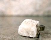 Rough Quartz Ring, White Crystal Gemstone Chunky Jewelry, Stone Statement Ring