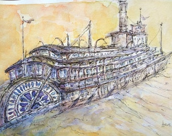 Martime Steamship Painting, Original Canada Watercolor Fine Art by Aeris Osborne, Art and Collectible 9 x 12, Sea lover gift