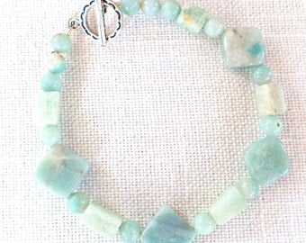 Aventurine Beaded Bracelet with Sterling Silver Clasp