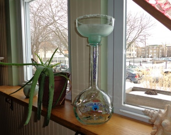 Upcycled Corazon Tequila Bottle Margarita Candle Lamp