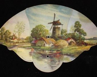 Vintage 1930s Advertising FAN -  Z. T. Hadland Print Windmill Lake Scene MADE USA