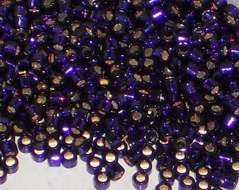 Miyuki Delica Beads, Silver Lined Midnight Purple, DB609, Size 11/0 Seed Beads, Japanese Cylinder Seed Beads, Purple Seed Beads