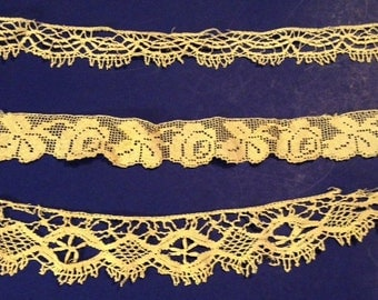 New Years sale etsy Antique lace trio vintage trim ecru off white lace trim for garters bows clothing trim boho wedding bridal costume