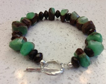 Etsy Chrysoprase & Bronzite Bracelet Sterling Silver hammered toggle mint chocolate Green brown size 7.5 sundance style jewelry