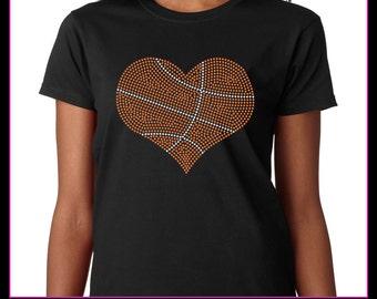Basketball Heart Rhinestone T-Shirt