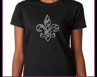 Fleur De Lis Zebra Style Rhinestone t-shirt