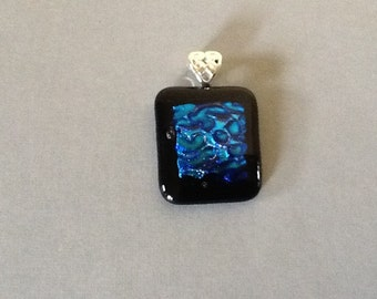Black /Blue Water Dichroic Glass Fusion Pendant