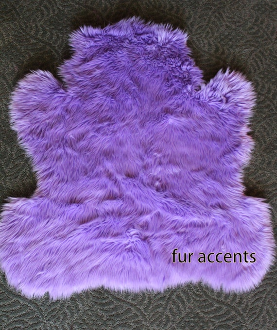 30 X 36 Faux Fur Teddy Bear Accent Rug Lavendar By FurAccents
