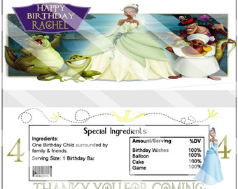 Adorable Disney Princess Tiana Princess and the Frog Birthday Party Candy Wrapper Custom Printable Party Favor