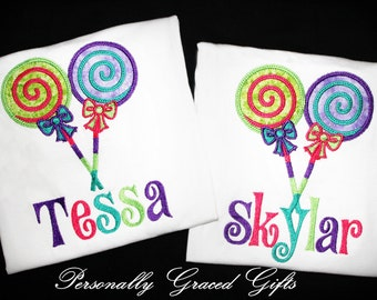 Personalized Embroidered Lollipop Shirt or Bodysuit-You Choose the Colors