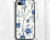 Vintage Iphone Case, flower iphone case, blue Iphone otterbox, women iphone cover, iphone hulle,  Fits iPhone 5, iPhone 4s & iPhone 4