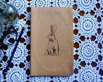 "Original Hand Painted & embroidered ""Silly Wabbit"" Moleskine 13 x 21 cm"
