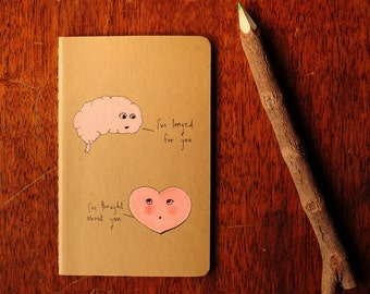 """Original Hand Painted """"Organs of thought"""" Moleskine 9 x 14 cm"""