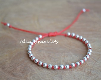 Red Ethnic Simple Macrame Beaded Bracelets, Minimal Friendship Bracelet, Boho Style Bracelet, Adjustable Bracelet, Gift Idea For Friends