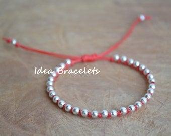 Red Hot Ethnic Beaded Macrame Simple Bracelet