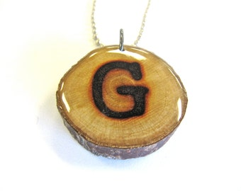 reclaimed wood letter g necklace