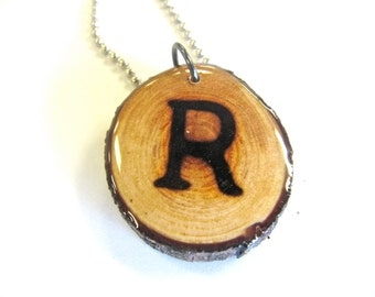 Letter R Necklace, Reclaimed Wood