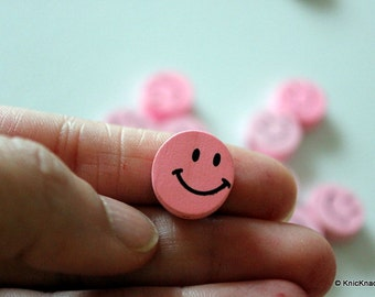 10 x Pink Smiling Wood Beads 16mmx16mm