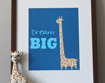 "8x10 or 11x14 Giraffe Nursery Art Print ""Dream Big"" 