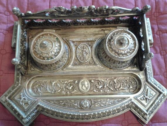 Inkwell Antique French 1850's Louis XVI Style Made in Napoleon III Empire Brass Julius Cesar Medallion, Acorn-Shown at Bonhams Appraisal