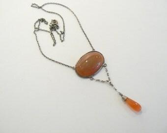 Beautiful Art Nouveau / Art Deco Natural Stone & Sterling Dangle Necklace