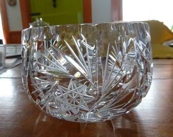Pinwheel Cut Glass Serving Bowl