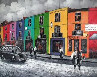 Original Oil on Canvas Painting .Portobello Road Notting Hill London.  24x 20 inches