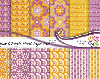 Digital Paper Yellow and Purple Floral Paper Pack, Floral Digital Paper - Commercial Use, Instant Download