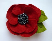 Poppy felt brooch, flower brooch - CreatedWithLoveuk