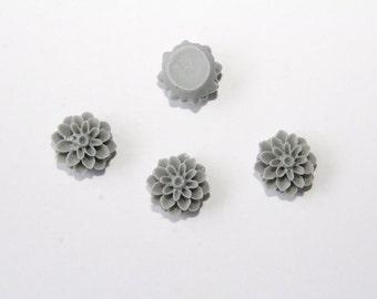 5 Pcs. Flower cabochons / Flat Back Resin cabochons / Dahlia / 16mm / grey C007