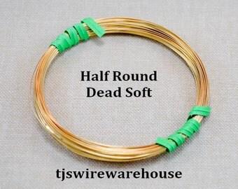 Nu Gold Wire, Red Brass Wire, 22g, Half Round, Dead Soft, 50 ft, Wholesale