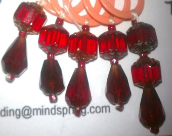 Knit Stitch Marker, Red Czech Cystals (Set of 5)