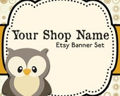 Etsy Banner Set - Etsy Shop Banner - Premade Etsy Banner - Etsy Shop Banner And Avatar Set--WoodlandEtsy Banner--Owl Etsy Set