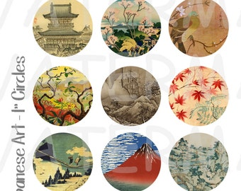 Japanese Art - 4 x 6 Digital Collage Sheet  - 1 inch Round Circles - INSTANT DOWNLOAD