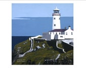 "Celtic art,Lighthouse art,Art Print ,Landscapes,wall art,living room decor,Donegal artist,blue green,  ""Fanad Lighthouse"""
