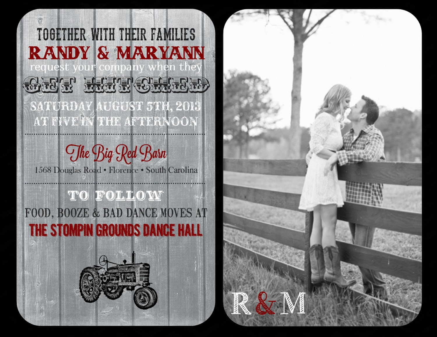 Hitched Wedding Invitations: Country Get Hitched Wedding Invitation And RSVP By