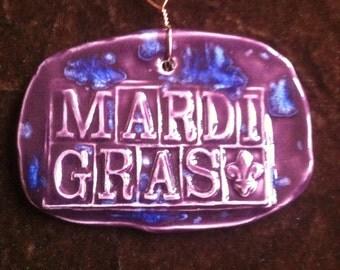 Mardi Gras royal purple and blue handmade Pottery Ornament