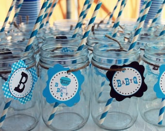 Cupcake Toppers and favor tags BBQ Blue-Sweet Willow Designs
