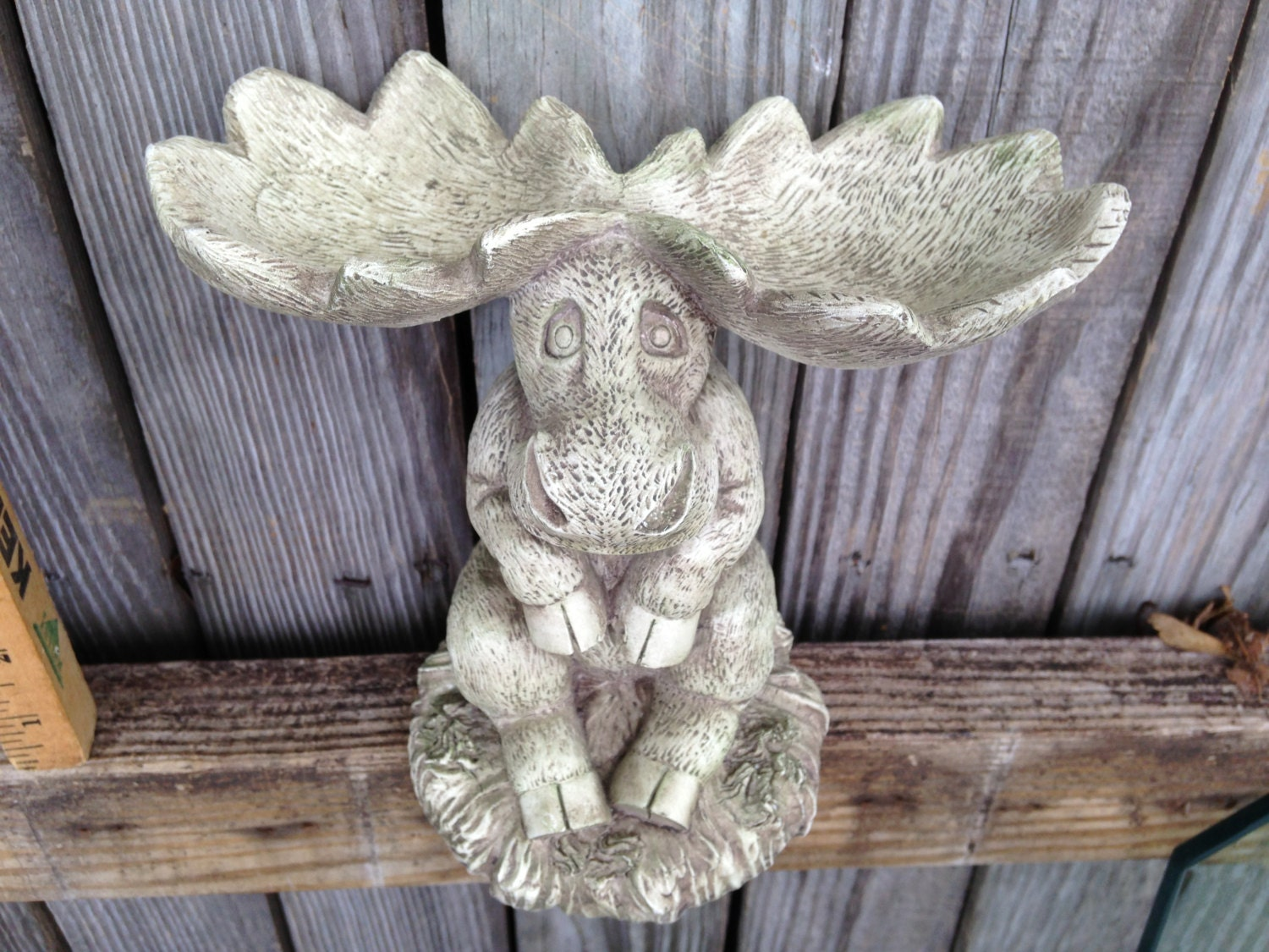 Moose statue moose art whimsical home decor garden art for Whimsical garden statues
