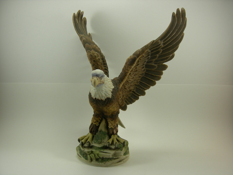 Vintage Porcelain Bald Eagle Statue By Sadek By Allycatattic