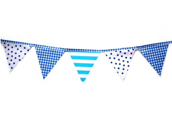 Blue stripes and spots- Outdoor waterproof bunting