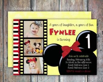 Classic Mickey Minnie Mouse Birthday Inviation