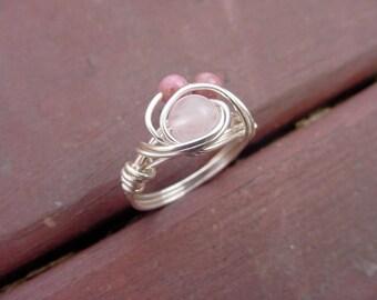 SALE!! Rose Quartz & Rhodonite Semi Precious Stone Wire Wrapped Ring  Love Stones, Chakra, Reiki Jewelry